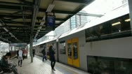 Stock Video Footage of Sydney Central Station Train stop