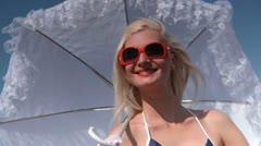 Retro gril with umbrella 3 Stock Footage