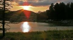 The Sun Drops behind Lake Sylvan Stock Footage
