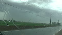 Lightning Rain Through Windshield Stock Footage