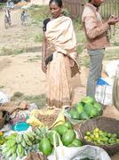 Indian woman in saree chooses fruit Stock Photos
