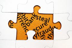 Bank steal puzzle concept Stock Photos