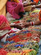 selling bangles and other jewelry - stock photo