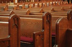 empty church pews - stock photo