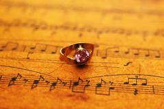 Ring on music sheet Stock Photos