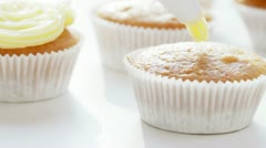 Decorating Cupcake - stock footage