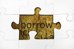 borrow puzzle concept - stock photo