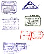 Asian passport stamps vectors Stock Illustration