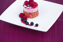 Stock Photo of strawberry and blackberry cake