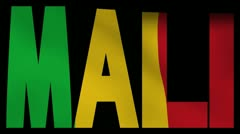 Mali text with fluttering flag animation Stock Footage