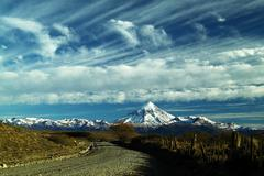Lanin Volcano and clouds - stock photo