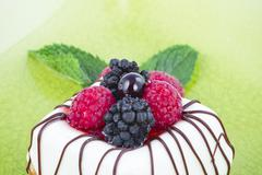 Black and white chocolate with blackberries on green plate Stock Photos