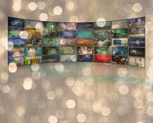 large composite video screeens - stock photo