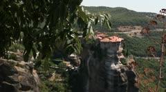 Meteora monastery total (follow focus) Stock Footage