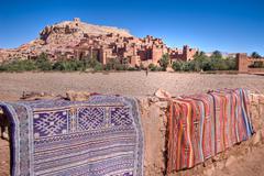 Arabian carpet and castle Stock Photos