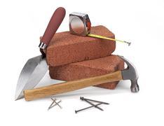 masonry construction - stock photo