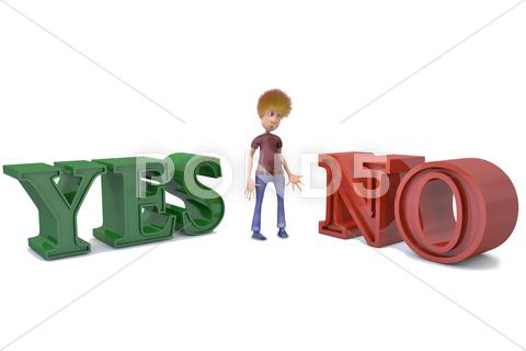Stock Illustration of 3d man stands before a choice