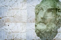 classical sculpture with textures, white greek bust of sócrates - stock photo
