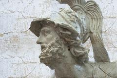 classical sculpture with textures, white greek bust of pericles - stock photo