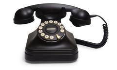 rotary phone on white - stock photo