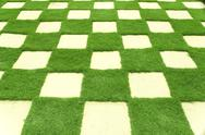 Stock Photo of beautiful grass tiles in a garden