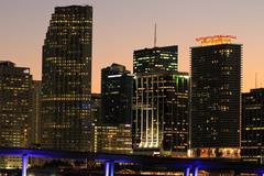 Miami Beach skyline at night Stock Photos