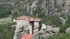 Roussanou monastery Stock Footage