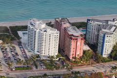 Miami Beach Birds eye view on Apartment buildings Stock Photos
