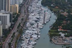 Miami Beach Birds eye view on Marina - stock photo