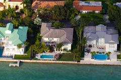 Miami Beach Birds eye view on Miami beach luxury islands. - stock photo
