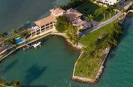Miami Beach Birds eye view on Miami beach luxury islands. Stock Photos