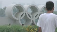 beijing stadium olympics symbol - stock footage