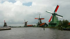 Windmills near Amsterdam, Holland Stock Footage