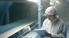 Sugar on the production line in a Factory Stock Footage