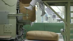 Sugar bags on conveyor in a Warehouse Stock Footage