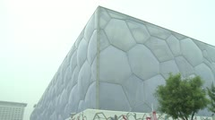 Beijing water cube  outside wall.Tr Stock Footage