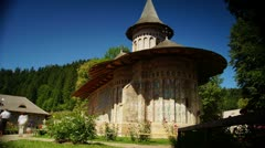 Holy monasteries in Bucovina, Romania heritage,Voronet time-lapse Stock Footage