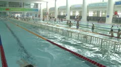 Beijing water cube swimming pool Stock Footage
