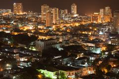 Vedado quarter in Havana at night - stock photo