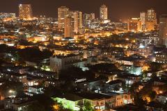 Vedado quarter in Havana at night Stock Photos