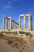 Ruins of ancient temple of Poseidon, Greece Stock Photos