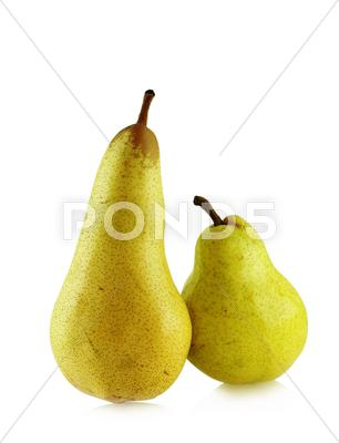 Stock photo of two ripe spotted pears