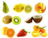 Set of eight kinds of fresh fruits Stock Photos