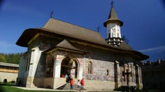 Holy monasteries in Bucovina, Romania heritage, Sucevita, time-lapse Stock Footage