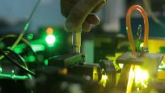 Experiments with a laser system in the laboratory 3 Stock Footage