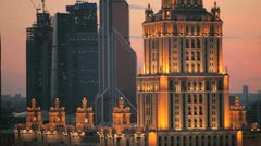 Hotel Ukraina and Moscow city Stock Footage