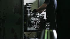 Workshop for production metal cones on the machine - stock footage