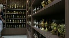 Souvenir shop in Kalambaka Stock Footage