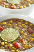 fresh amaranth corn chowder - stock photo