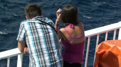 Young couple during a sea voyage Stock Footage